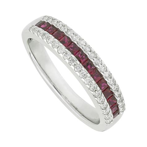 Ruby 4 9ct 9ct white gold ruby and 0 19 carat ring