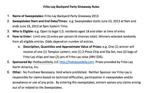 Giveaways On Facebook Rules - frito lay backyard party giveaway hotsaucedaily