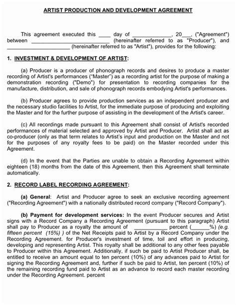 producer artist development agreement musiccontracts com