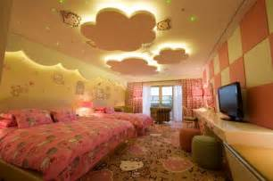 Awesome false ceiling designs for kids bedrooms with pink curtain and