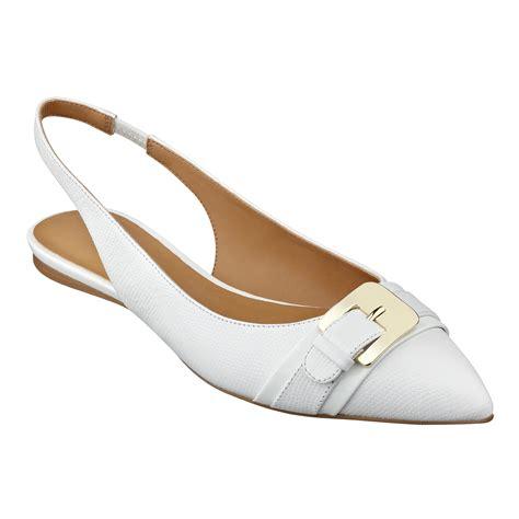 flat slingback shoes lyst nine west anyamarie slingback flat in white