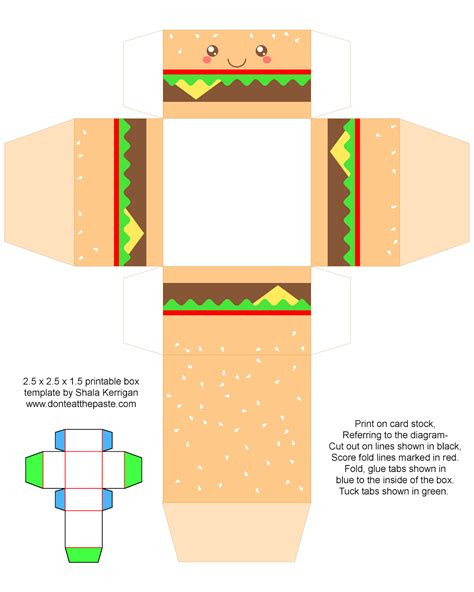 Print Out Origami - don t eat the paste printable cheeseburger gift boxes