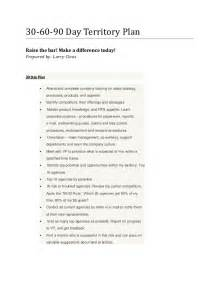 30 60 90 Day Sales Management Plan Template by Larry S 30 60 90 Day Territory Plan