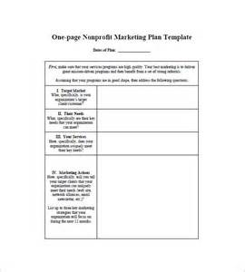 Marketing Plan Template by One Page Marketing Plan Template 10 Free Sle