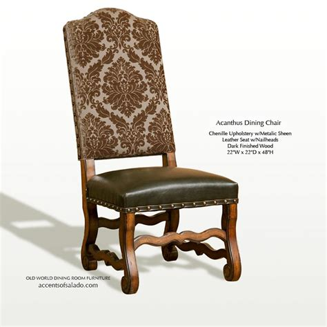 Mexican Leather Dining Room Chairs Dining Chairs World Acanthus Brown Upholstery With