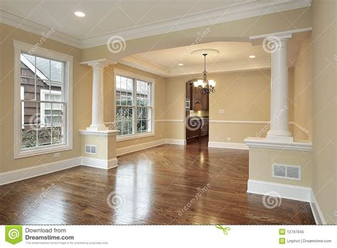 Pillar In Living Room by Living And Dining Room With White Pillars Stock Image Image 12797945