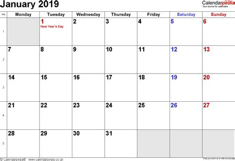 Calendar January 2019 Uk Bank Holidays Excel Pdf Word Templates 2019 Calendar Template Word