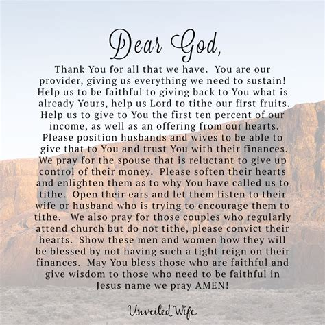 prayer of the day faithful to tithe