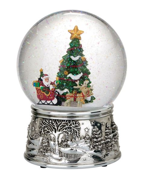 santa sleigh musical snow globe snow globes pinterest