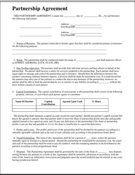 sle business partnership agreement ownership contract template 28 images doc 696900