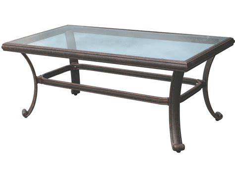 Coffee Table Outdoor Darlee Outdoor Living Glass Top Aluminum Antique Bronze 24l X 42w Rectangular Coffee Table Dl50 B