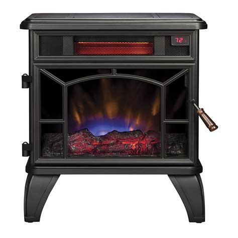 electric fireplace heater lowes shop style selections 20 98 in w 5200 btu black metal