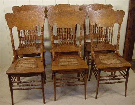 Press Back Chair by Set Of 6 Oak Press Back Spindle Back Chairs