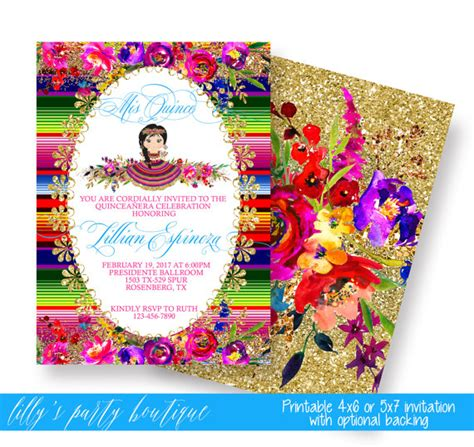 mexican themed quinceanera invitations quincea 241 era mexican fiesta invitation mexican quince