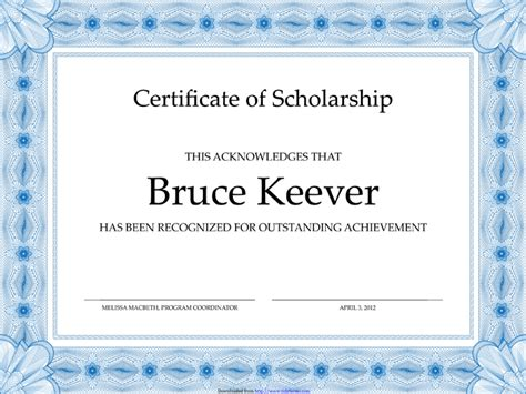 Scholarship Certificate Template Word 5 plus scholarship award certificate exles for word and pdf