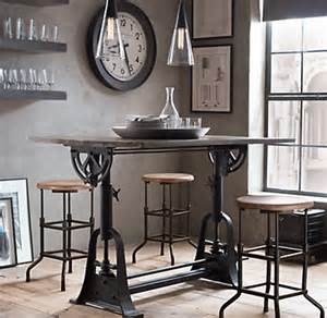 Restoration Hardware Bistro Table 1910 American Trestle Drafting Table