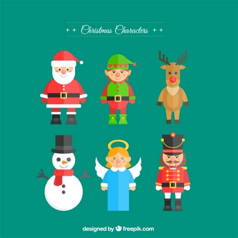 christmas characters in flat design vector free download