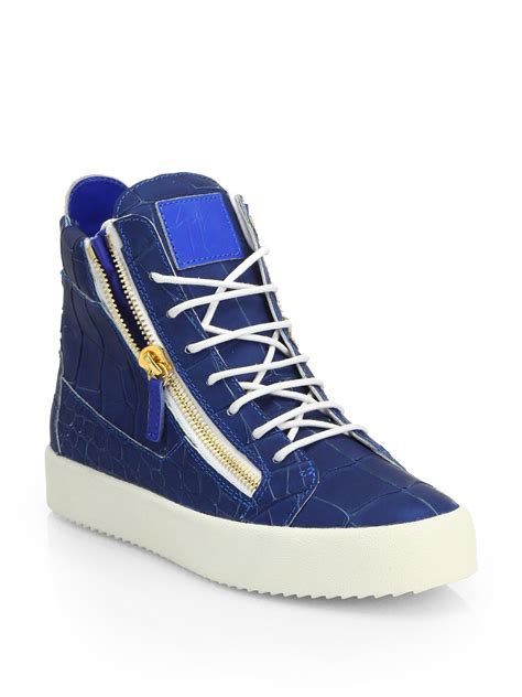 best sneakers lyst giuseppe zanotti croc embossed leather high top