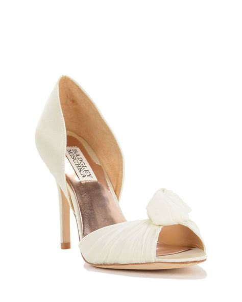 badgley mischka white musica organza evening shoe lyst