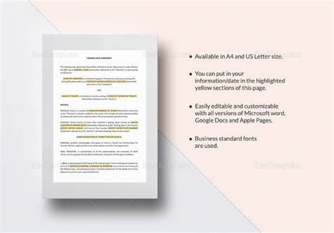 parking lease template 11 parking agreement templates sle templates
