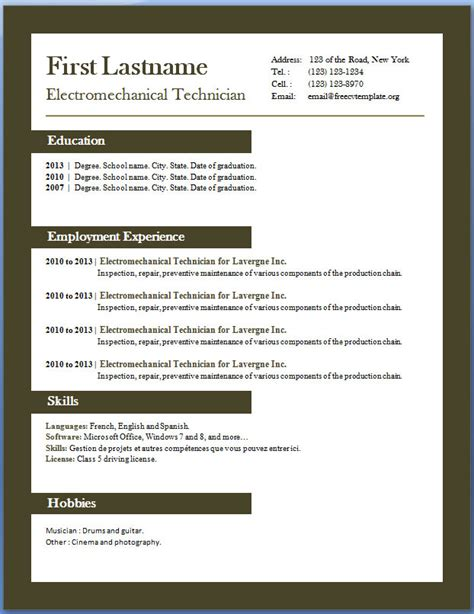 cv free template free cv templates 29 to 35 free cv template dot org