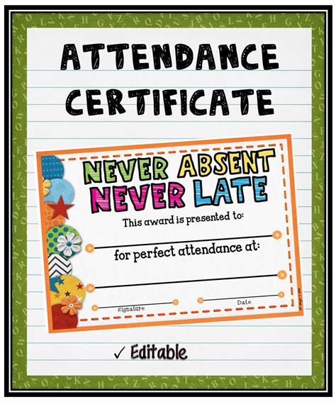 Acknowledge Your Students Perfect Attendance By Presenting Them With This Editable Attendance Attendance Award Template