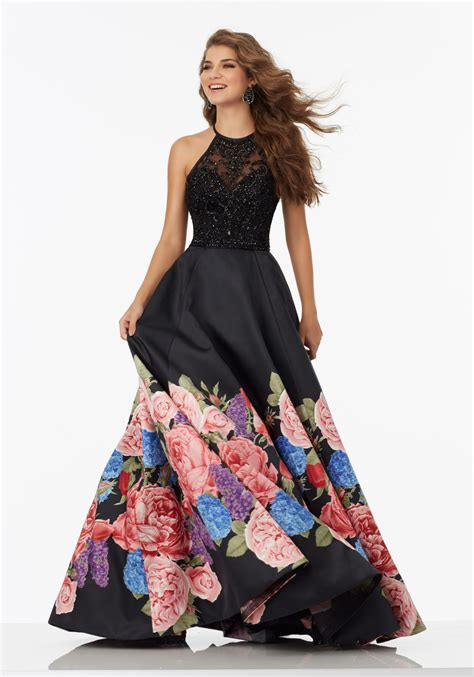 For Printed Satin by Floral Printed Satin Prom Gown With Net Bodice Style