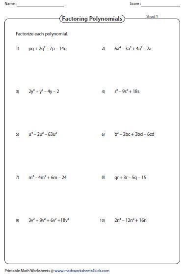 Factoring Binomials Worksheet Pdf by Factoring Polynomial Worksheets