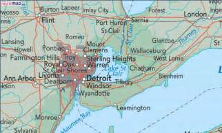 map of detroit and canada chatham map and chatham satellite image