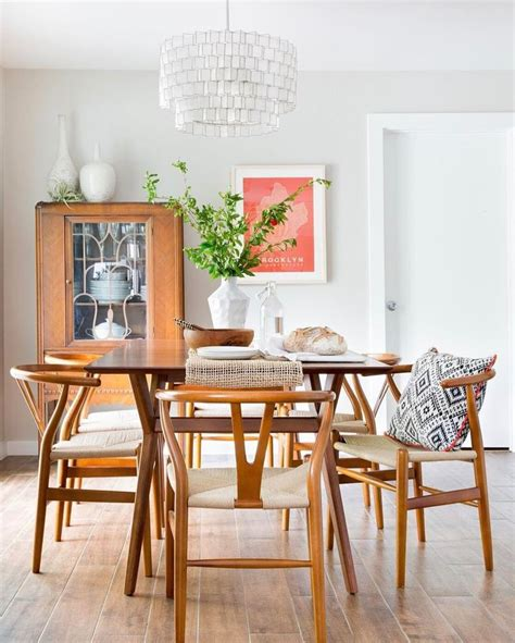 eclectic dining room  wishbone chairs mid century
