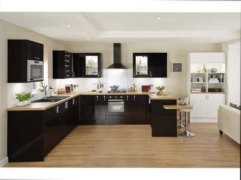 cuisine bois cuisine noir brillant et bois