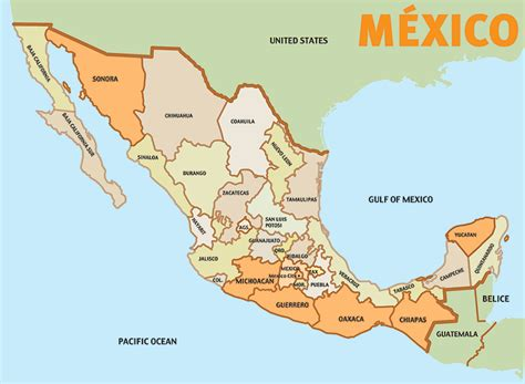 mexico states map mexico map and states