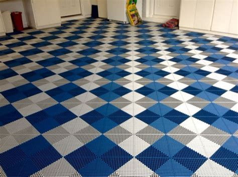 White & blue vented grid loc rubber garage floor tiles