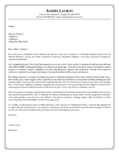 cover letter exle for teaching assistant cover letter sle sle cover letter