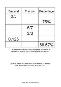 percent decimal fraction worksheets pdf free math