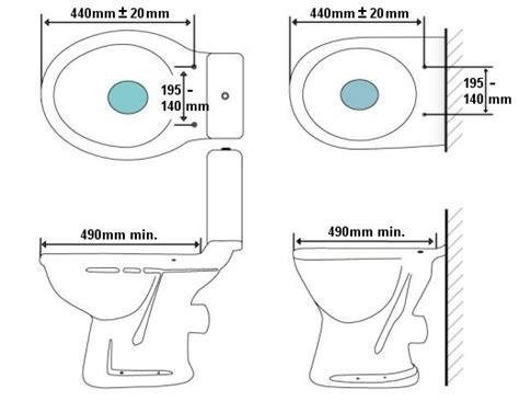 bidet dimensions toilet drawing front view