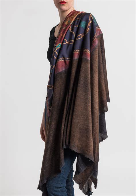 Jumbo Silk by Avant Toi Jumbo Felted Silk Saddle Print Shawl In Cocoa