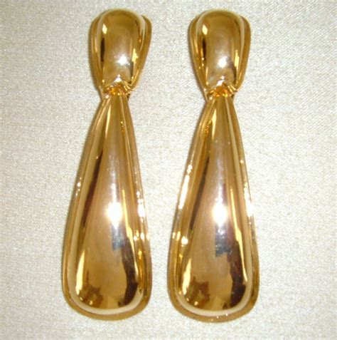 gold tone dangle clip on earrings from simplyglamour on