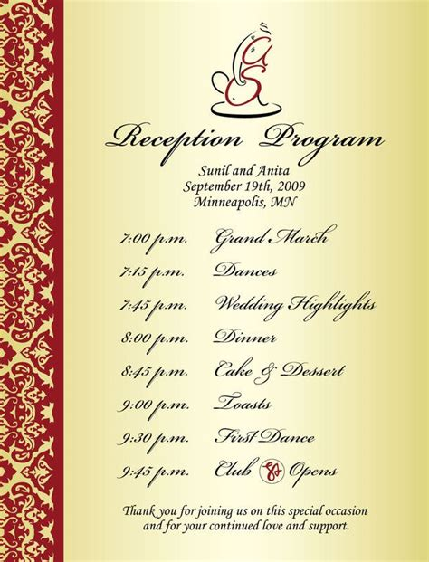 wedding reception agenda template wedding reception program sle weddings events puram
