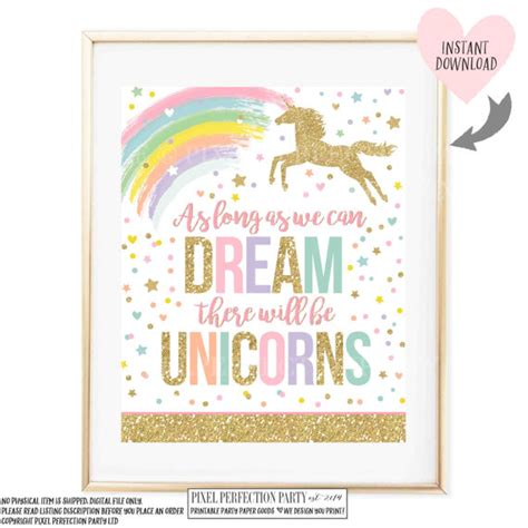 printable unicorn signs unicorn wall quote unicorn party sign as long as you can dream