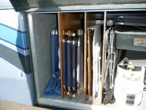 Rv basement storage for folding chairs using plywood iders