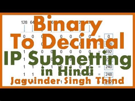 subnetting tutorial in hindi jagvinder cisco videos subnetting math binary to decimal