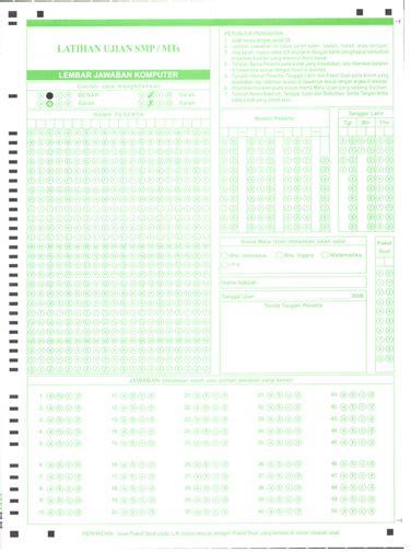 Kertas Silver 10lembar lembar jawaban komputer ljk untuk latihan ujian smp mts sma ma dan smk 2008 satya sembiring
