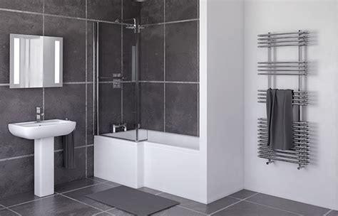 1700mm l shaped shower bath left screen side panel
