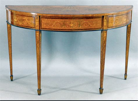 Demi Lune Tables by Spectacular 19th Century Style Satinwood Inlaid