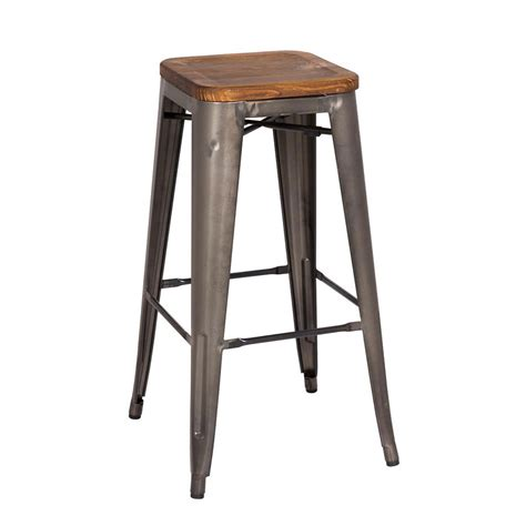 metro modern backless gun metal bar stool eurway - Backless Metal Bar Stools