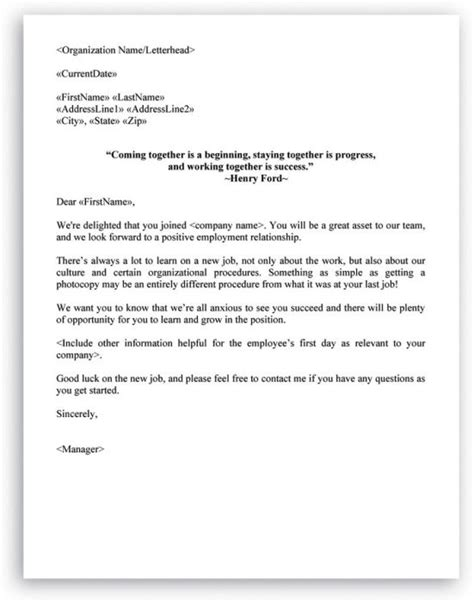Welcome Letter Format For New Employee Hr Letter Formats Pinterest New Employee Welcome Note To File Template Personnel File