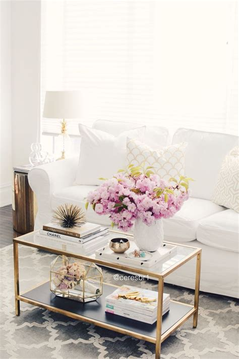 Living Room Gold Sofa Living Room Coffee Table Styling White And Gold