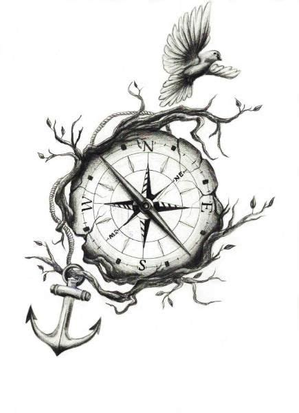 tattoo compass bird small flying bird and compass with anchor tattoo design