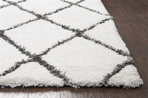 white and grey pattern rug connex diamond pattern hand tufted area rug in white